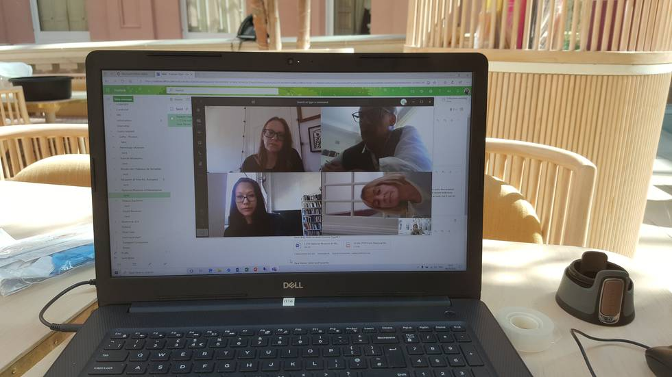 Online video call with four people