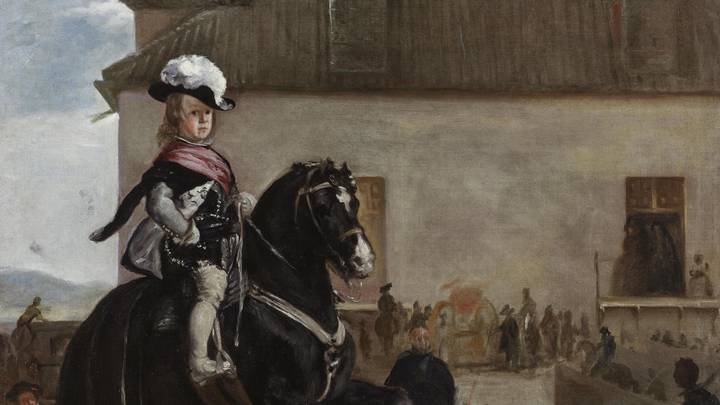 Painting of a young boy on horse back