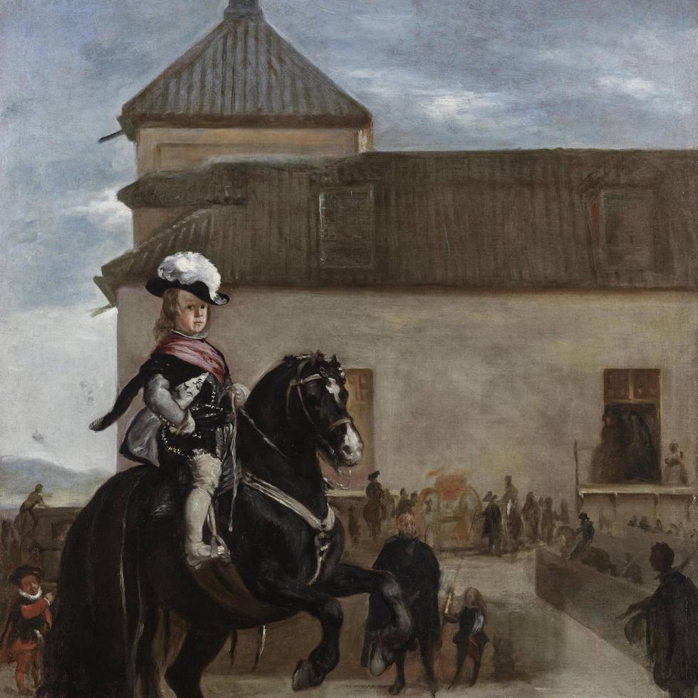 Seventeenth century young boy on horse with audience in background