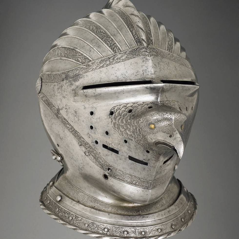 Armour helmet with bird face on visor