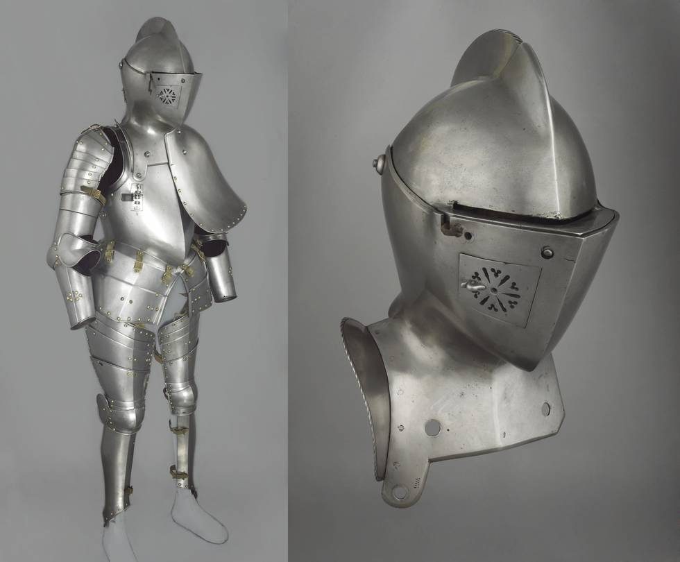 Two photos, one of full body armour, the second of the helmet