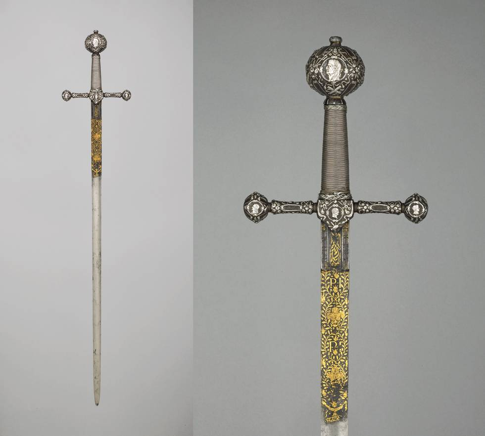 Two images of a sword, one a detail of the handle