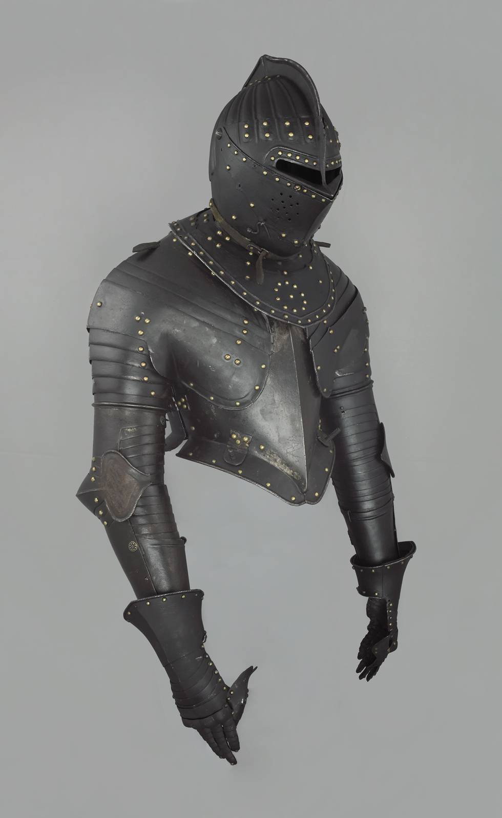 Top three-quarter length of armour that is blackened and painted