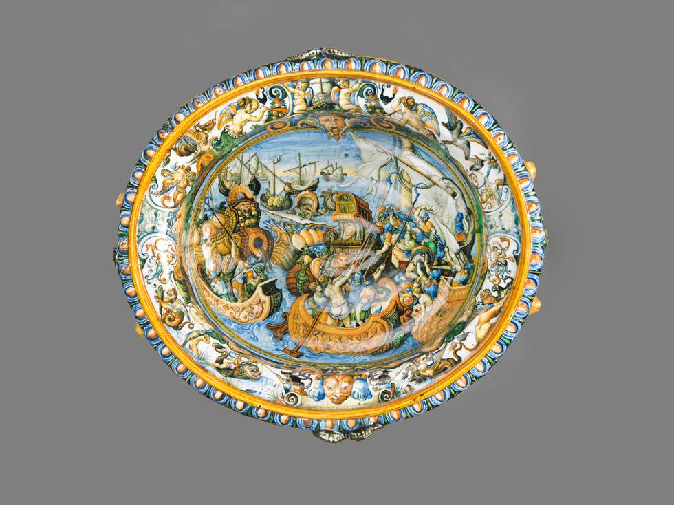 Above view of a sixteenth century wine cooler depicting Roman naval battle scenes