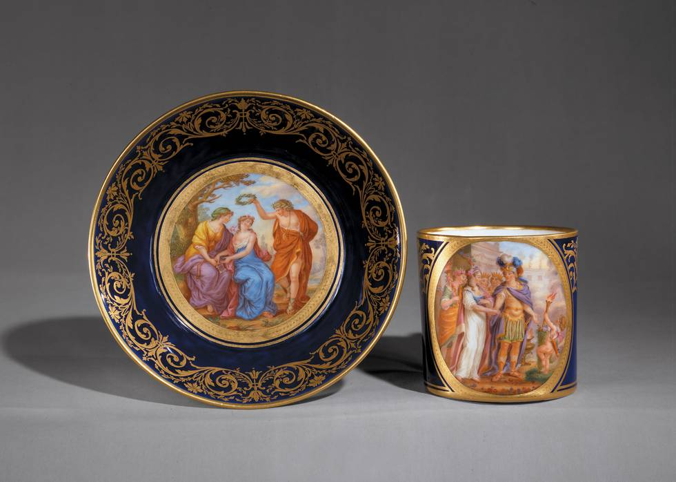 Mythological illustrations on cup and saucer
