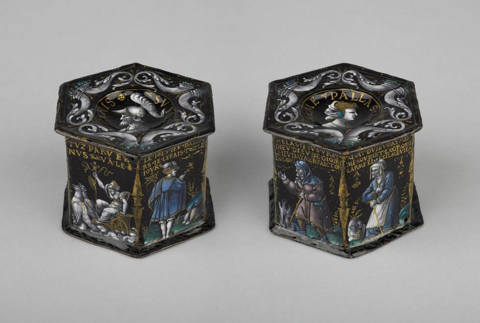A pair of hexagon boxes with illustrations of love