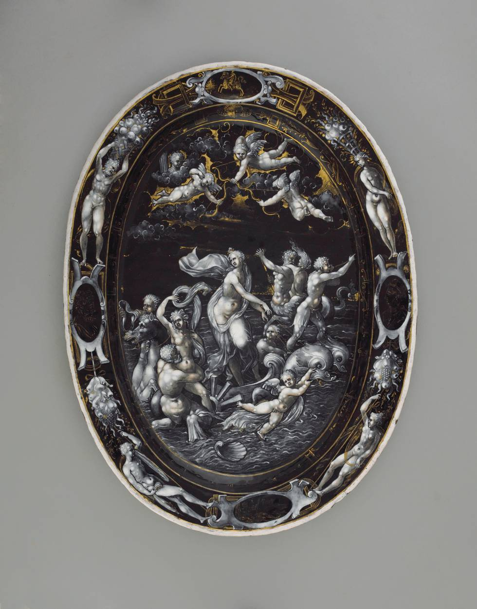 Enamel dish, women surrounded by a group of people in a river