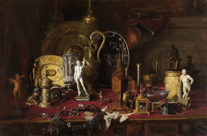 Blaise-Alexandre Desgoffe, Objects of Ancient Art in the Collection of Sir Richard Wallace in London, 1880. Oil on canvas, 100 x 150.5 cm. Staatliche Kunsthalle Karlsruhe