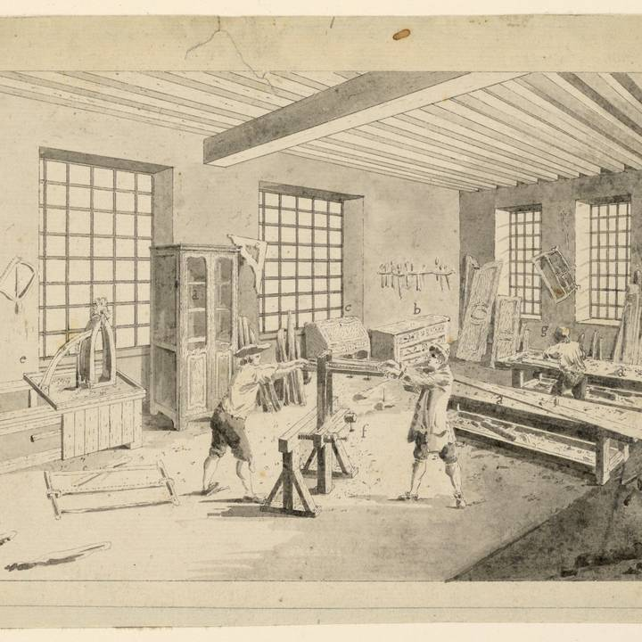 A drawing of three men working in a cabinetmaker's workshop