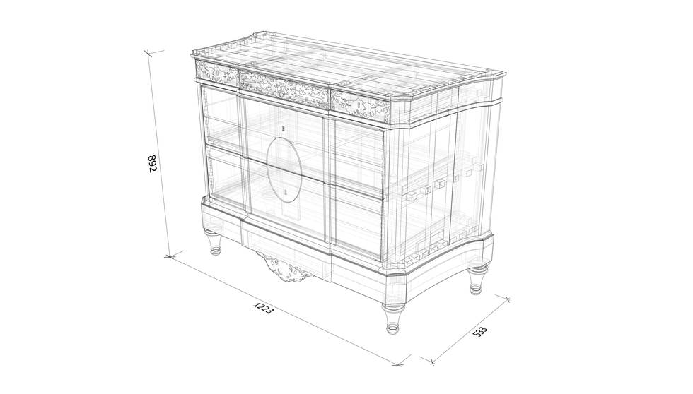 An isometric drawing of a marquetry chest of drawers