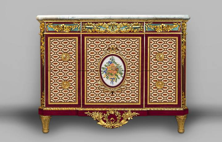 A digital reconstruction of the chest-of-drawers, showing how it might have appeared when Riesener delivered it to Marie-Antoinette in 1780. Chest-of-drawers (F247).