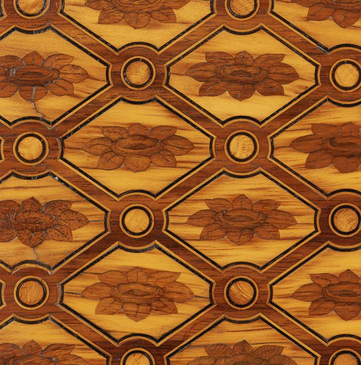 Detail of trellis marquetry. Attributed to Jean-Henri Riesener, Chest-of-drawers, 1780 (F247).