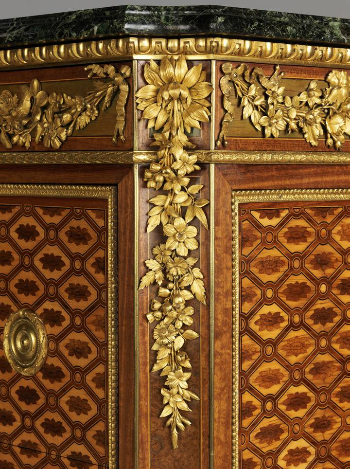 Detail of floral gilt-bronze mount. Attributed to Jean-Henri Riesener, Chest-of-drawers, 1780 (F247).