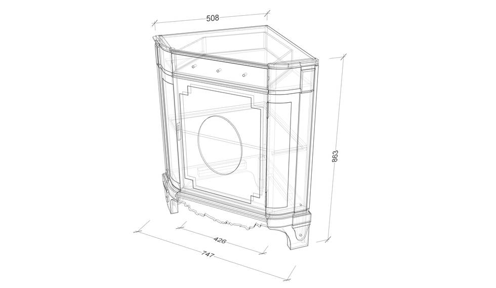 An isometric drawing of a corner cupboard