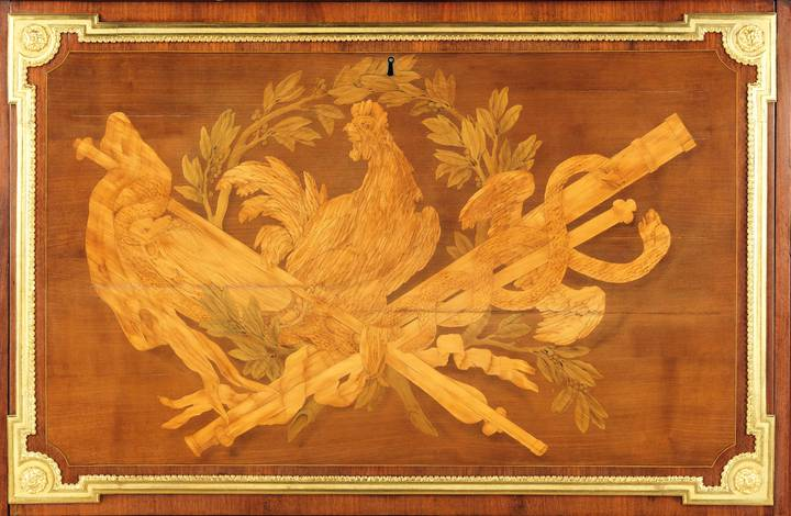 Detail of pictorial marquetry, showing a caduceus, a laurel wreath and a cockerel. Fall-front desk (F300).