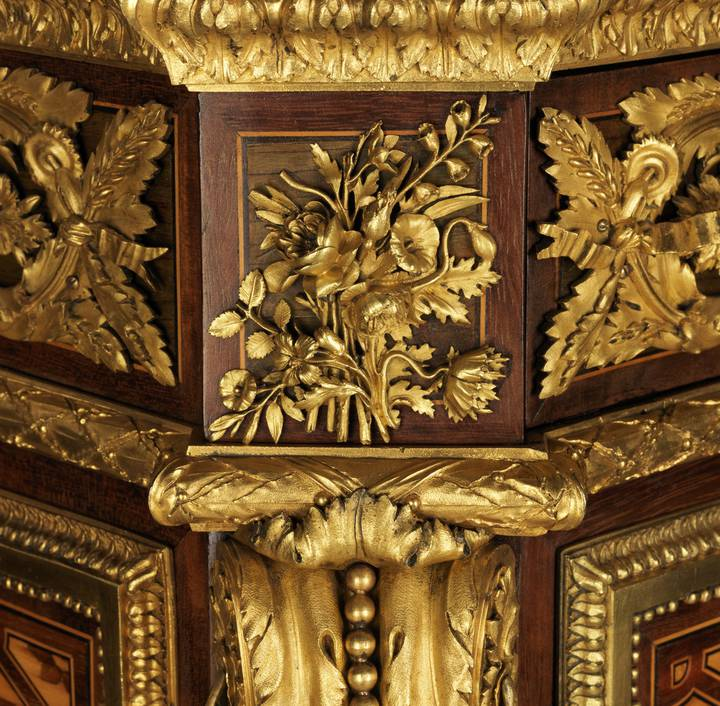 Detail of floral gilt-bronze mount. Jean-Henri Riesener, Fall-front desk, 1783 (F302).