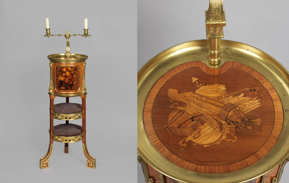 Two photos of wooden table with candlestick and illustrations of musical instruments