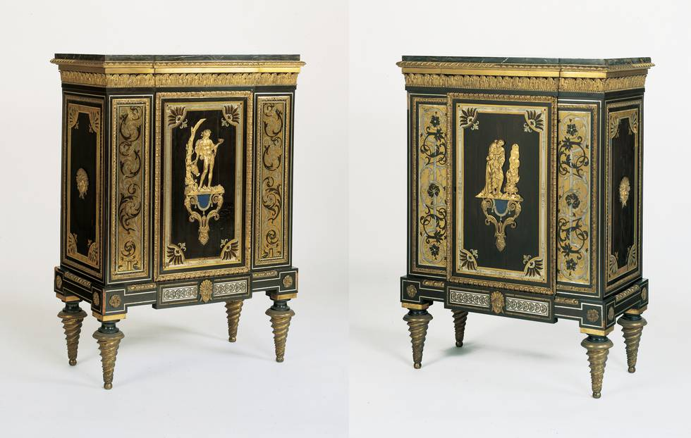 Pair of wooden cabinets, with a figure on representing autumn and winter