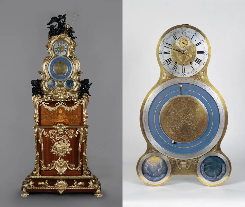 Two images of wooden clock, one of clock face and astronomical dial