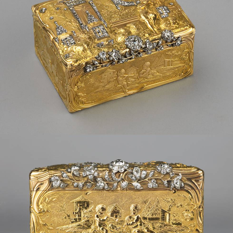 Two images of gold snuffbox with diamonds, Apollo engraved on cover