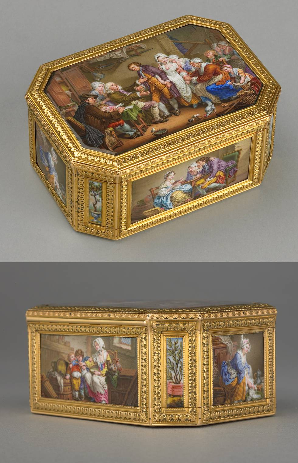 Two images of a gold snuff box, covered in 6 enamel images