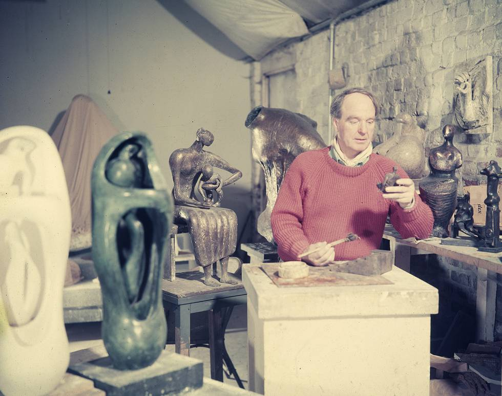 Henry Moore in his studio in Perry Green, c.1956..jpg
