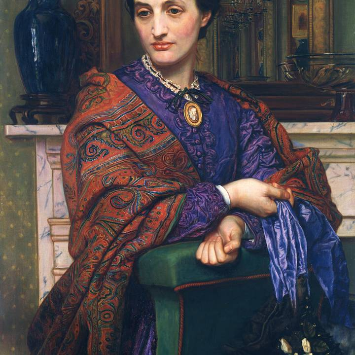 Colourful painting of a woman with a purple dress