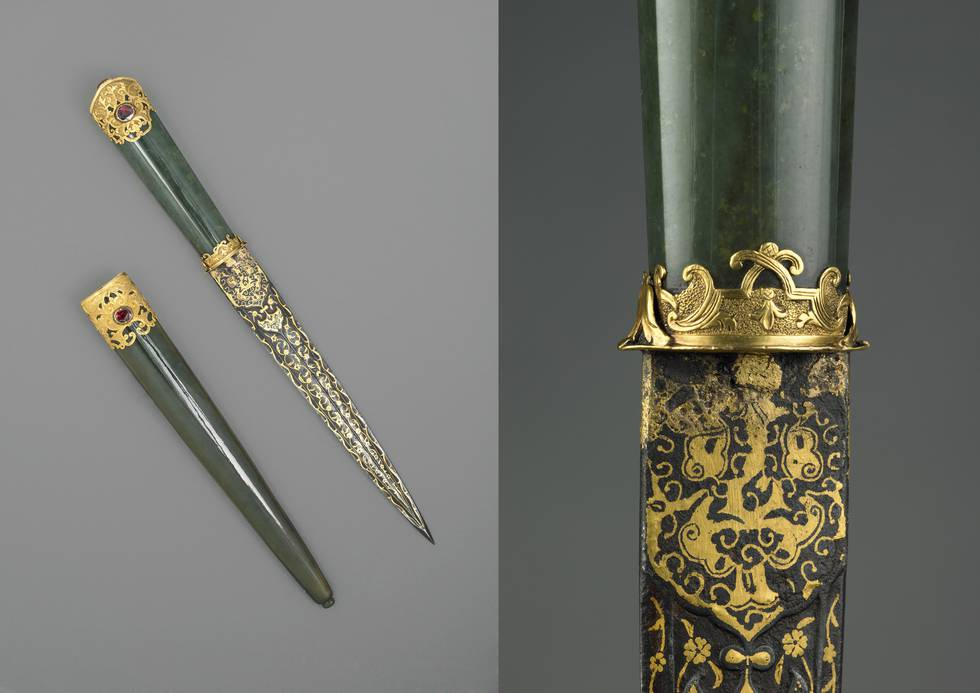 Two photos of knife and scabbard of jade and gold detailing