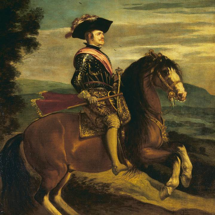 Seventeenth century painting of an armour man on a horse