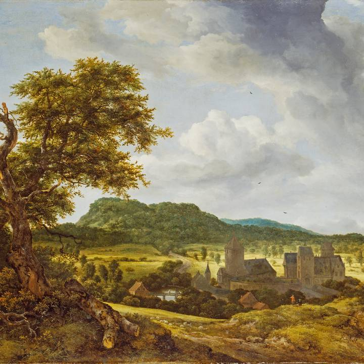 Painting of rural landscape and village