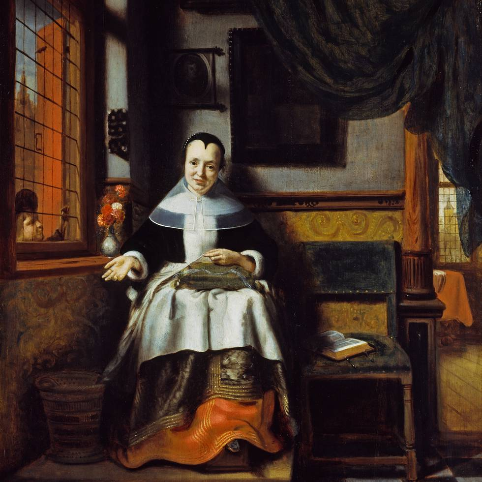 Seventeenth century women sits in an interior setting sewing
