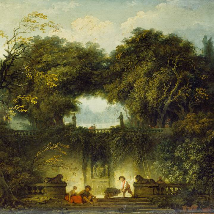 Park landscape with figures sitting and talking and a gardening