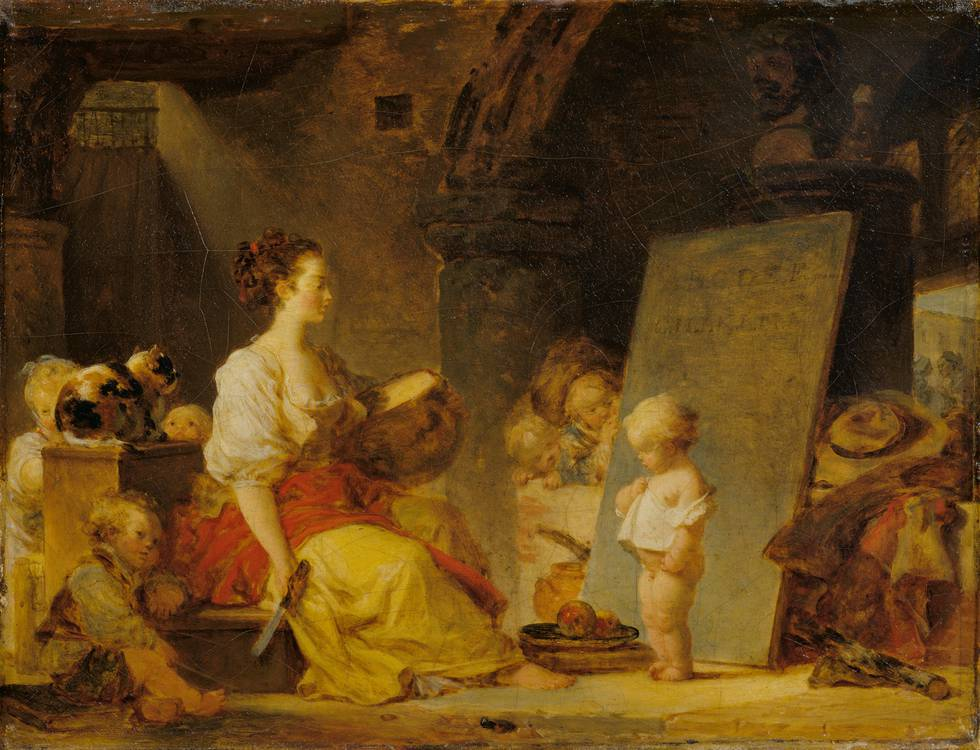 Women sitting facing a small boy standing in interior setting