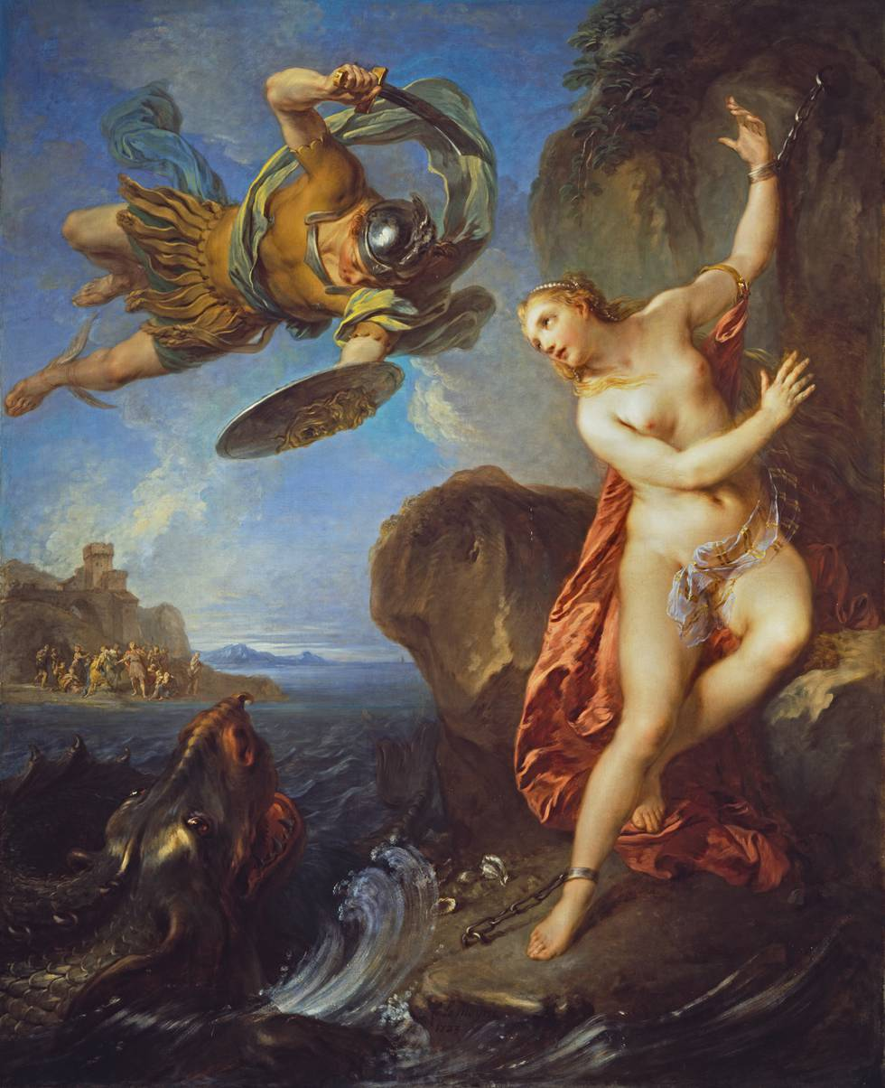 Women chained to rock as Perseus fights a sea monster