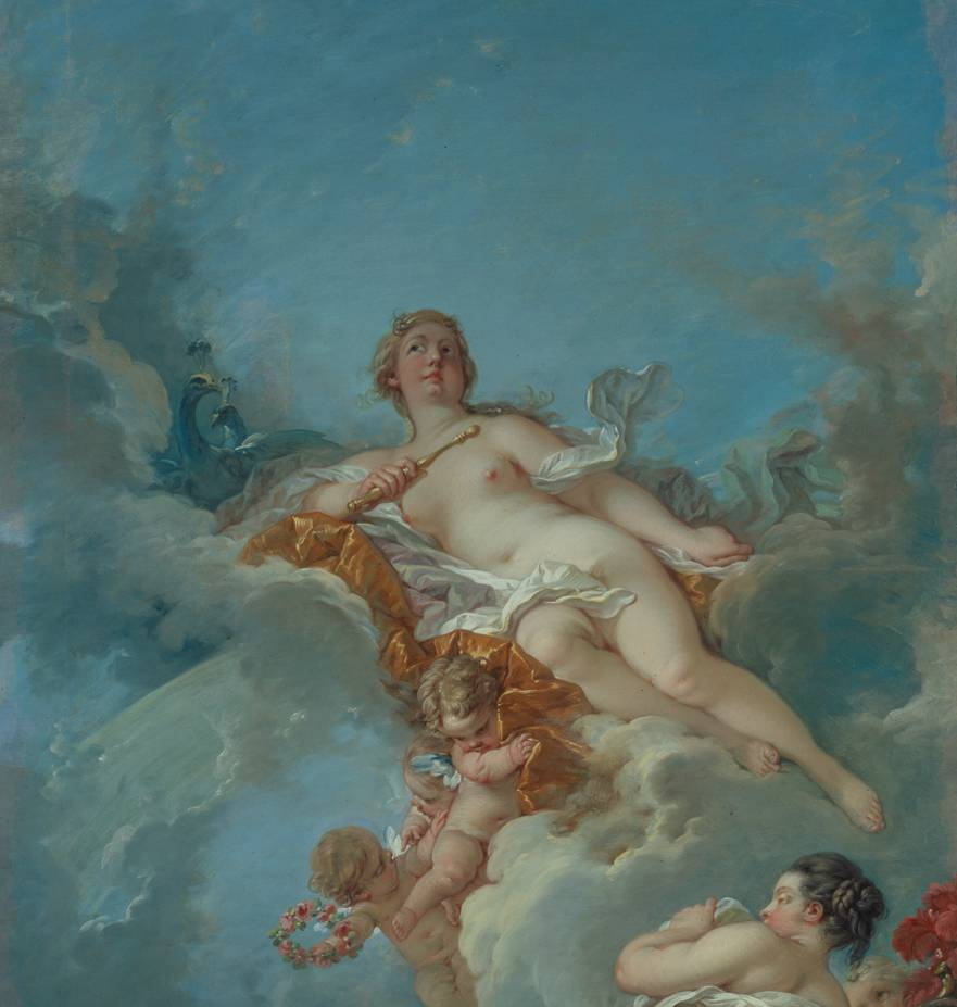 Detail of naked women lying on clouds with two putti