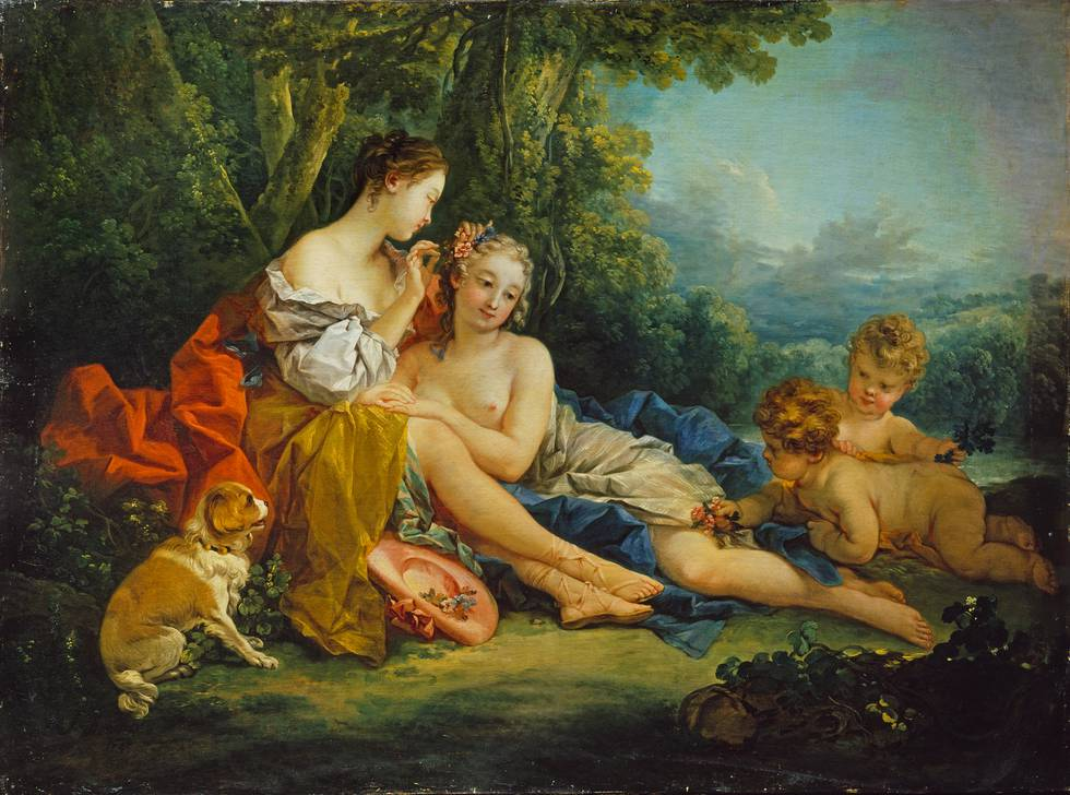 Two Shepherdesses and putti sitting in rural setting