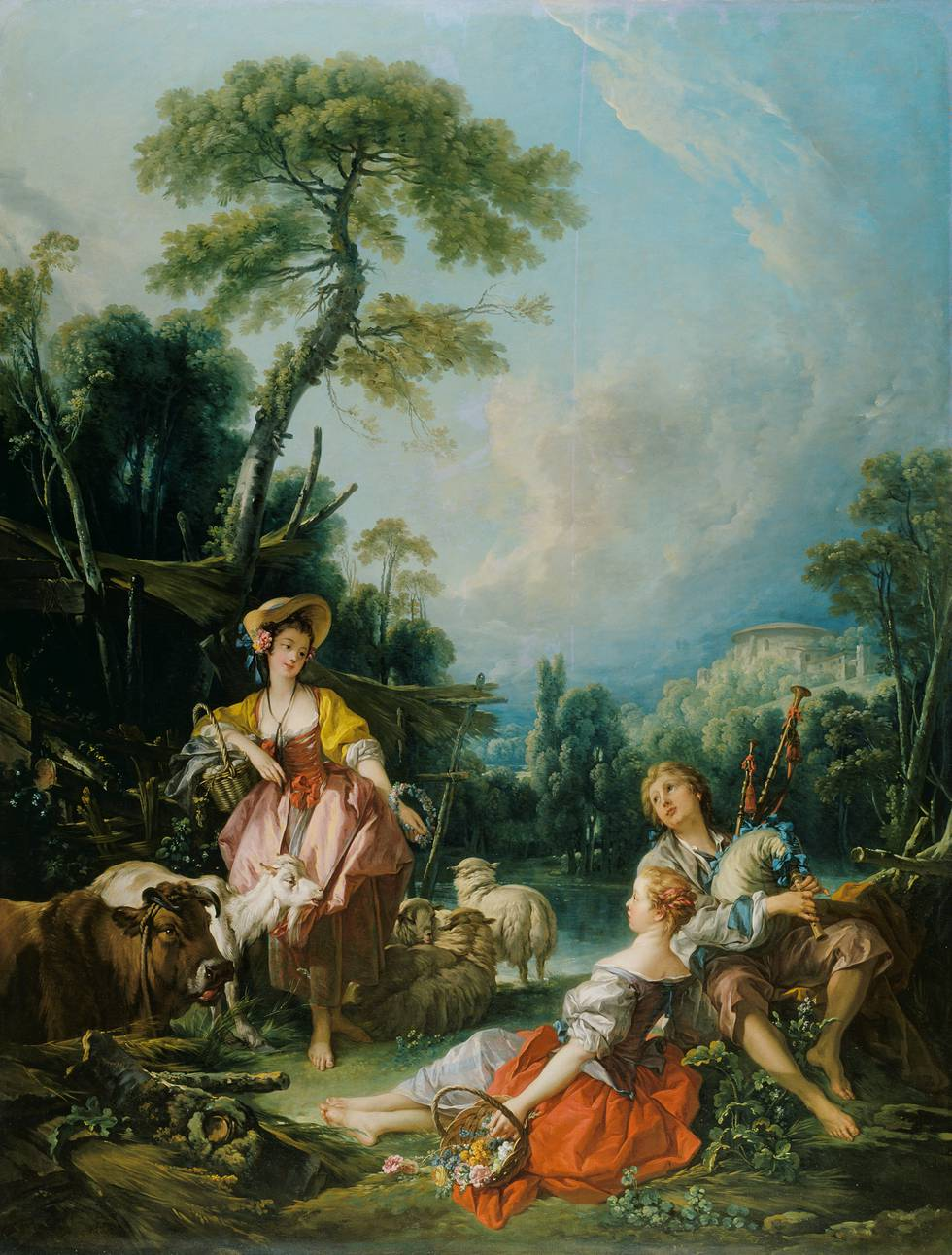 Two Shepherdess and one Shepard by river in rural setting