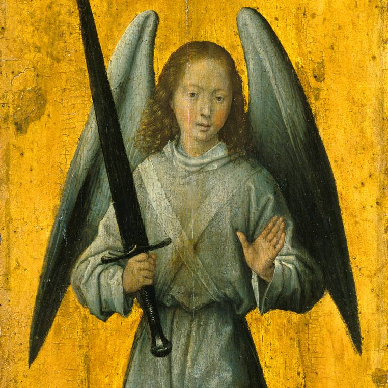 Angel with a sword on a yellow background