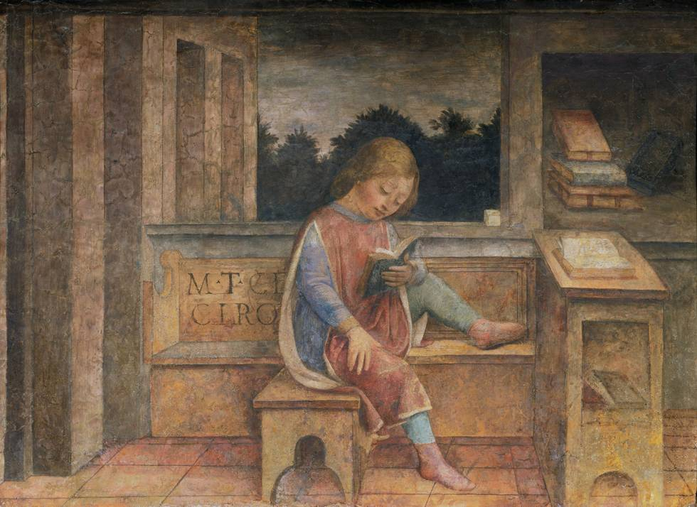 Fifteenth century young boy sat on bench reading book