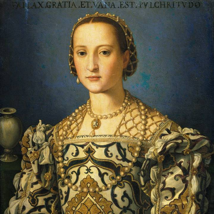Renaissance portrait of a woman in a white and blue silk brocade dress, pearl necklace and pearl earrings