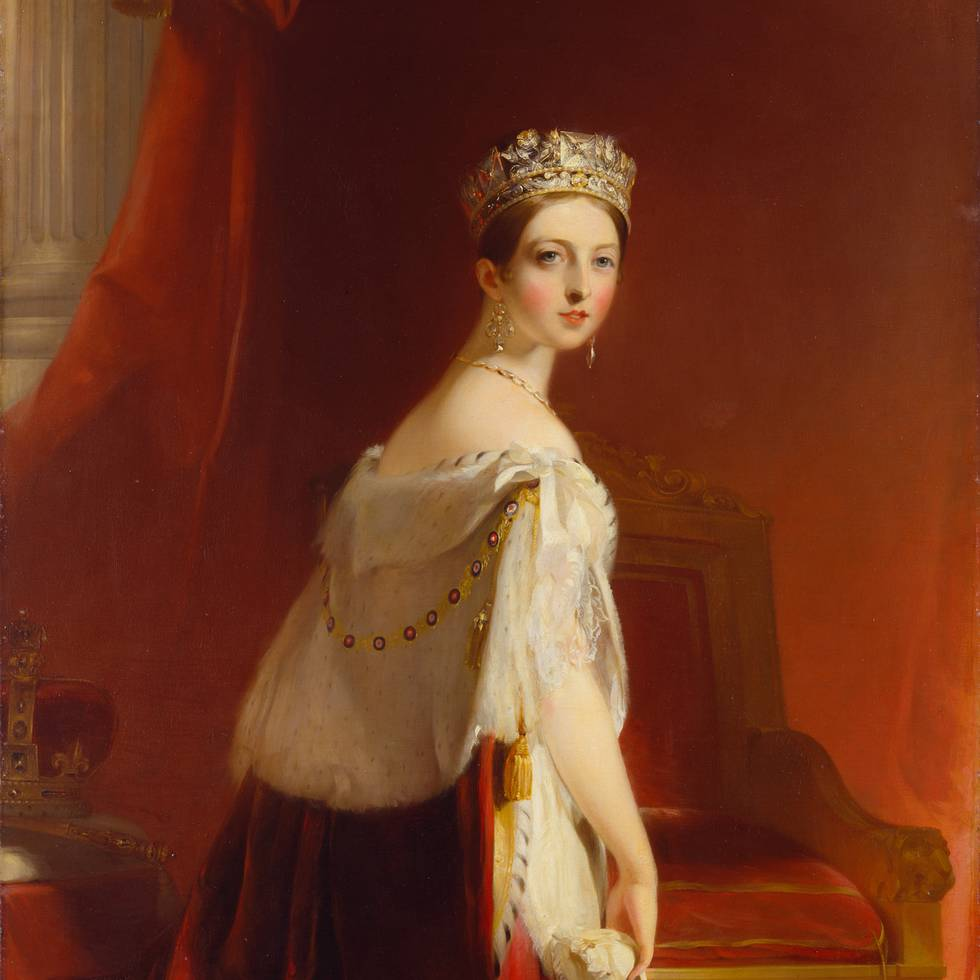 Three-quarter length portrait of young Queen Victoria looking over her shoulder
