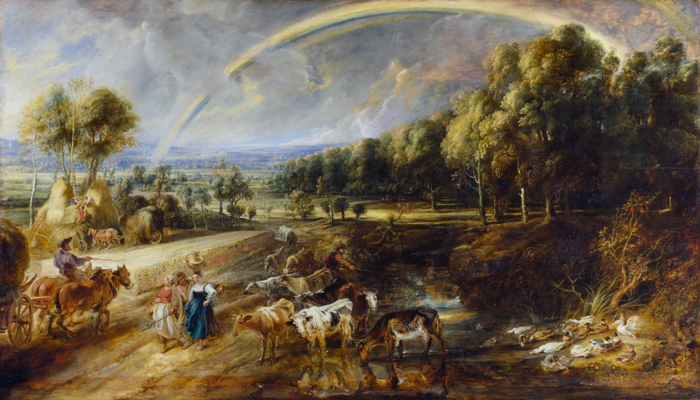 Countryside landscape of haymakers, milkmaids and cattle under a rainbow