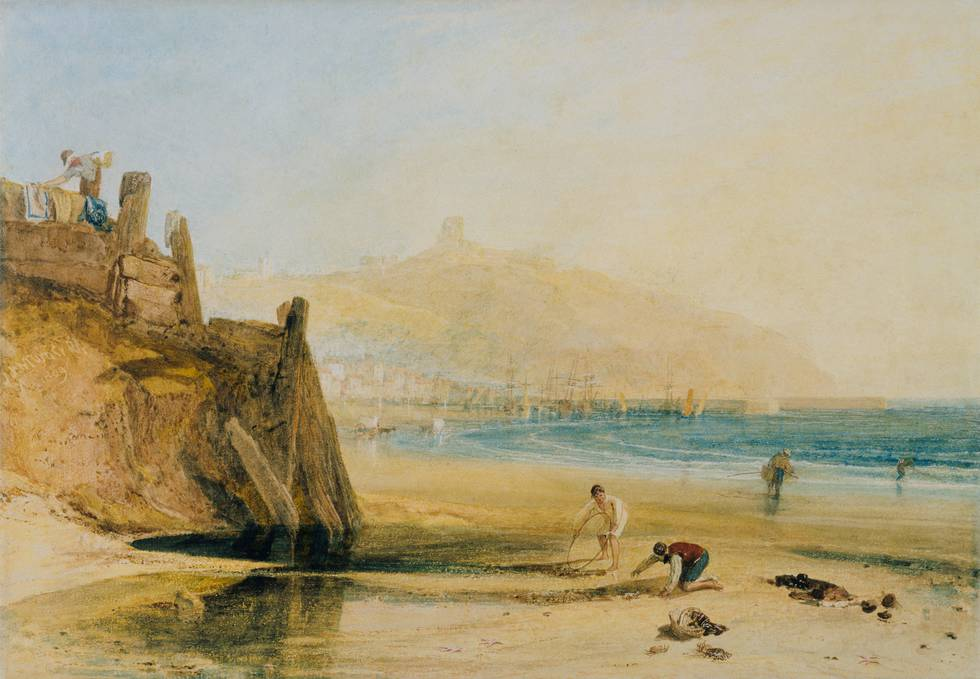 Painting of seascape with two boys fishing for crabs