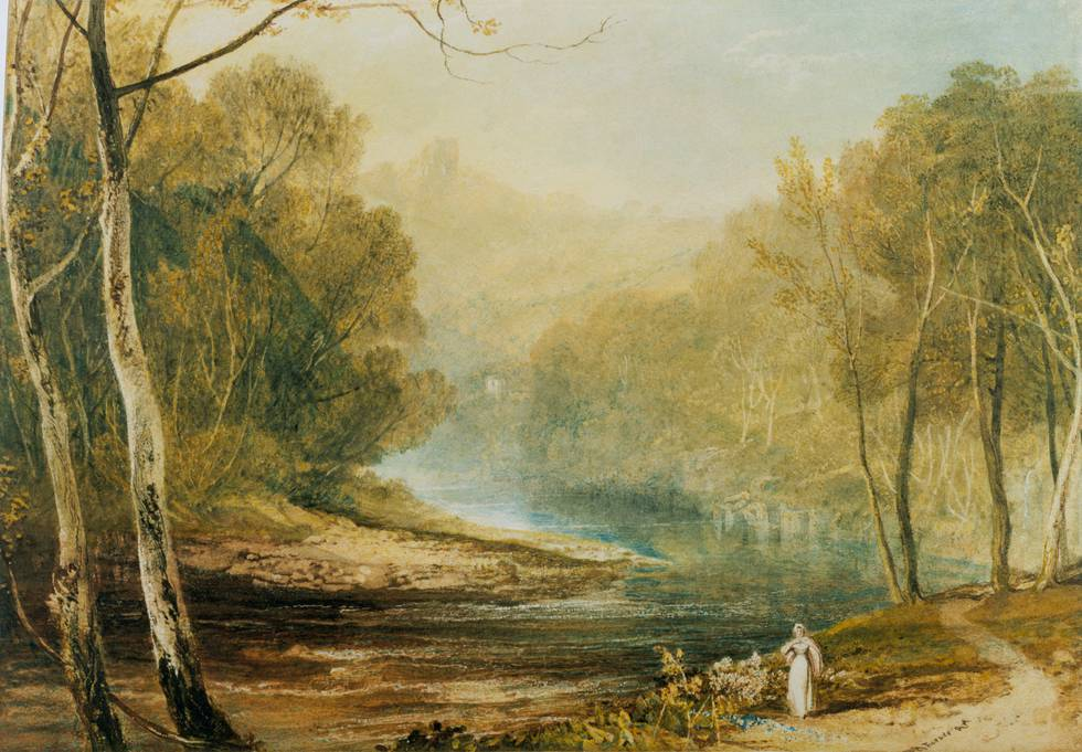 Painting of a forest scene with river and women walking