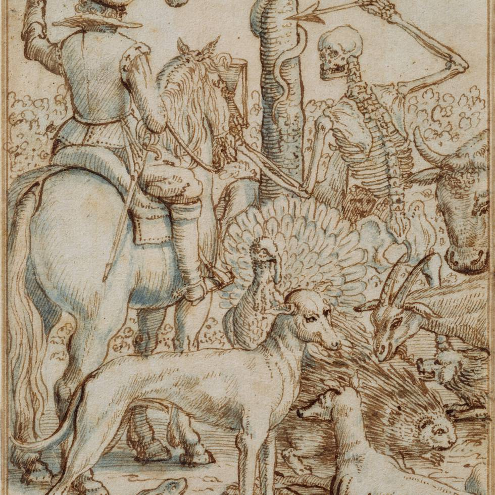 Skeleton throwing arrow at man on horse by tree surrounded by animals