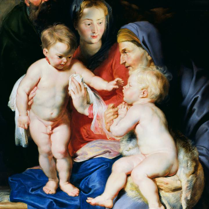Seventeenth century painting of the Holy Family with Saint Elizabeth and Saint John the Baptist
