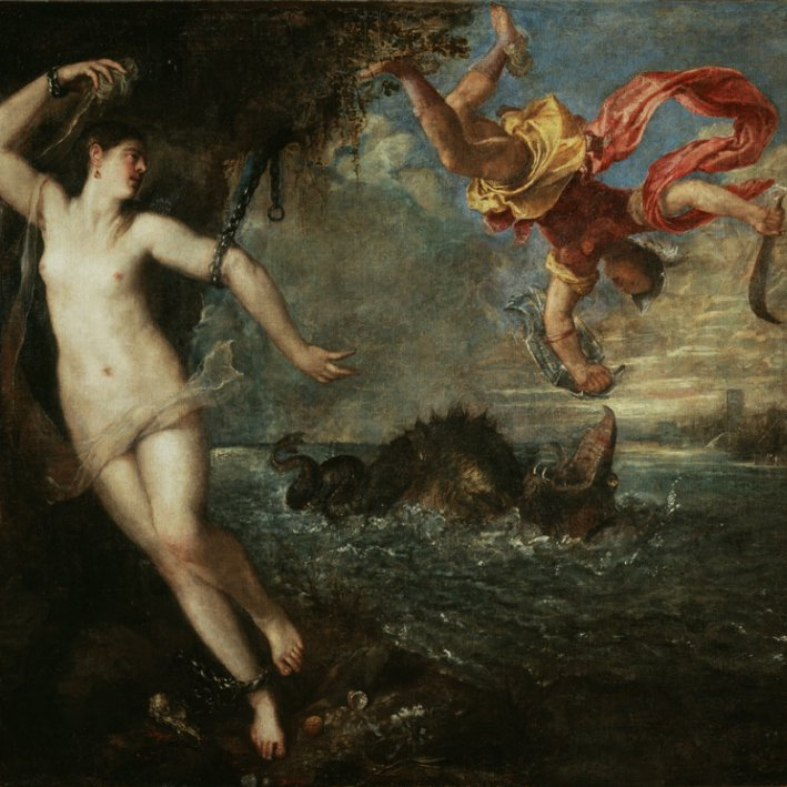 Naked women chained to rocks with man fighting sea monster