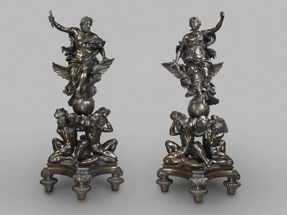 Two sculptures representing Jupiter and a Goddess