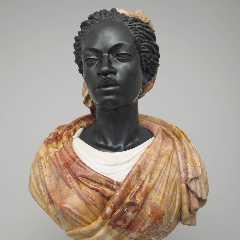 Bust of African women with marble shawl