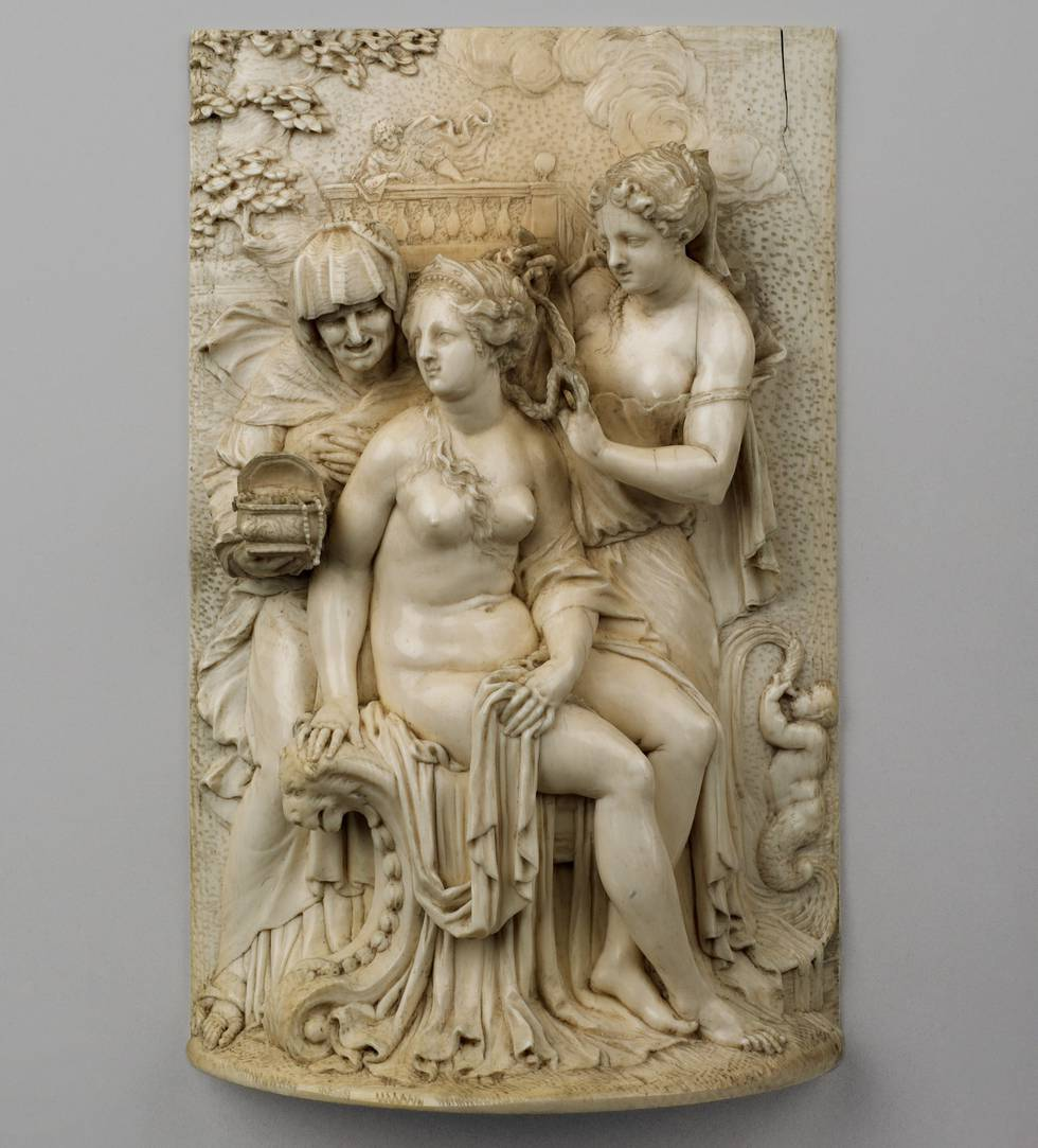 Ivory carving with the Toilet of Bathsheba